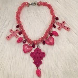 Tarina Tarantino Pink Lucite Necklace